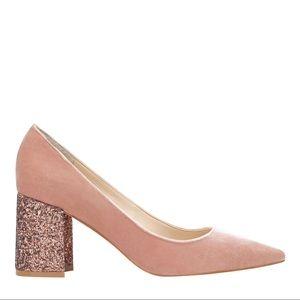 Marc fisher light pink velvet pumps